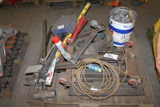 PALLET LOT TO INC. TROLLEY, NUTS, BOLTS, SLINGS, SLEDGES ...