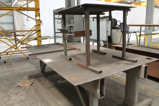 APPROX 10x6 STEEL TABLE & 3x3 STEEL TABLE for sale ...