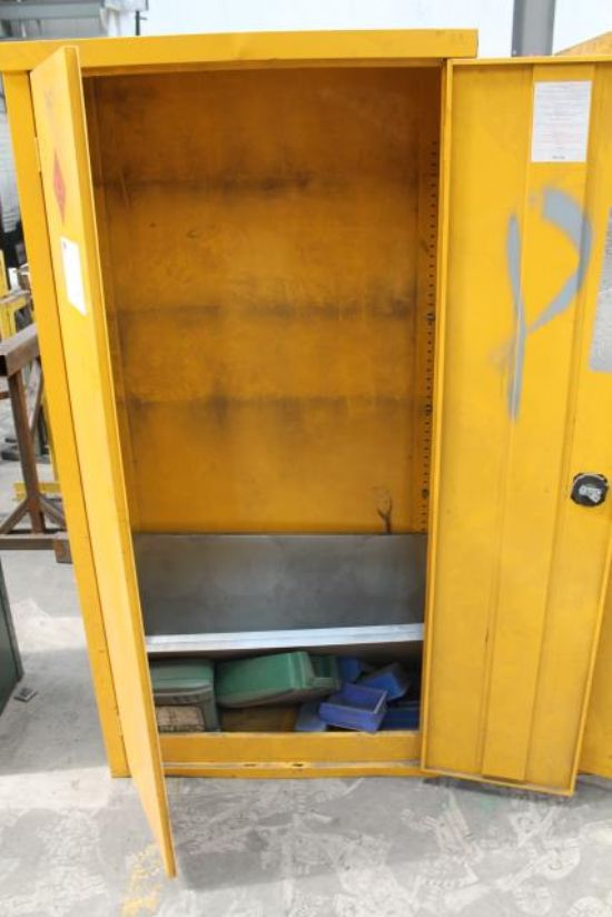 YELLOW DOUBLE DOOR CHEMICAL CABINET - Note: No Key for ...