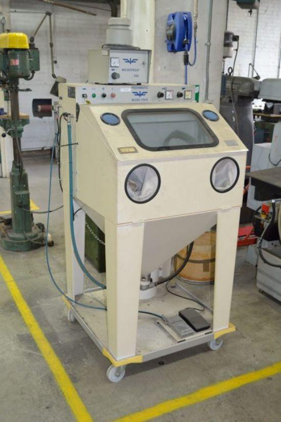 0-10 bar micro blast cabinet on castors with 350mm dia. aluminium rotary table, serial no FVG 2006/7