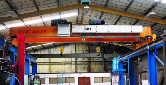 with; 2 x Konecranes 25-Ton Hoists, Span: 11.8m, Lifting Height: 5m, Crane Height: 6.8m Track Le