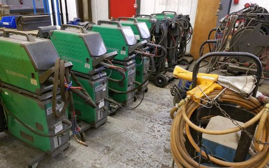 including Esab Warrior 400i; 7 x Migatronic Sigma Galaxy; 4 x Lincoln Electric Oil Cooled Welders; M