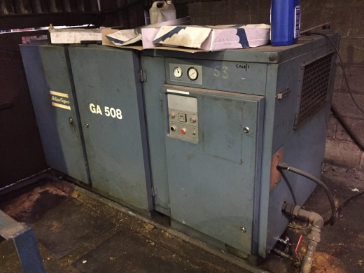 ATLAS Copco GA 508 Compressor with 2 receiving tanks. Hours on compressor 23441. receivers 500 litre