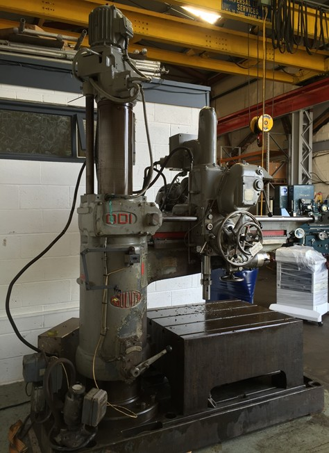Asquith OD1 4 FT Radial Arm Drill with Box Table, coolant.Year of Manufacture.1955, Number of spindl