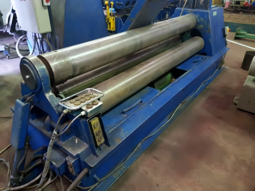 ROUNDO Model PS255, 2500 x 8 mm Pres-bend capacity, 3 Roll Double Pinch Pyramid Plate Bending Rolls.