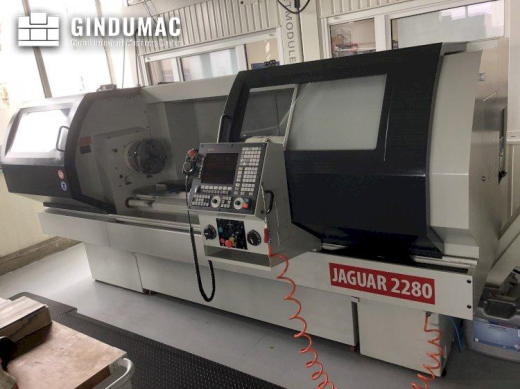 This JESSEY JAGUAR 2280 Lathe was manufactured in the year 2016 in Taiwan. It is equipped with a FAG