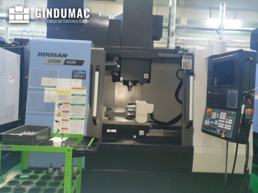 This Doosan DNM 4500 Vertical Machining Center was made in 2020. This 4 axis machine operates throug
