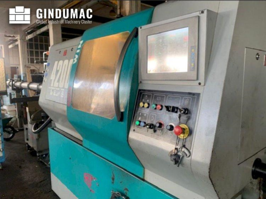 This Mupem Win 4200 Lathe was built in the year 2005. This 8 axis machine can work with a spindle sp