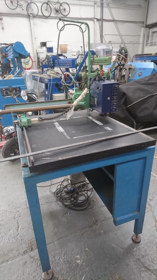 600x600mm. Plasma can be added. Ideal for small workshop