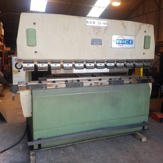 Rico 60 Ton Press Brake, Model RQH 25-60, s/n 363, 2500mm bending length, 2,000 between frames, 100m