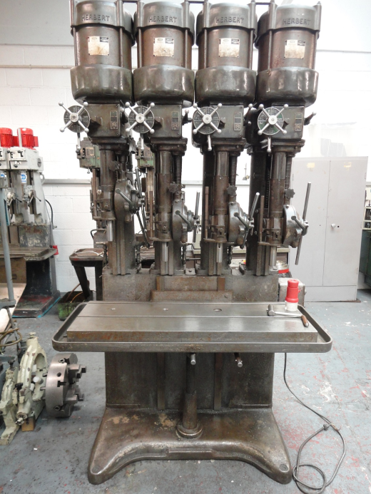 Herbert V-Type 4 Spindle In Line Drilling Machine S/N F44033 Rise & Fall Tee Slot Table 1165 x 390