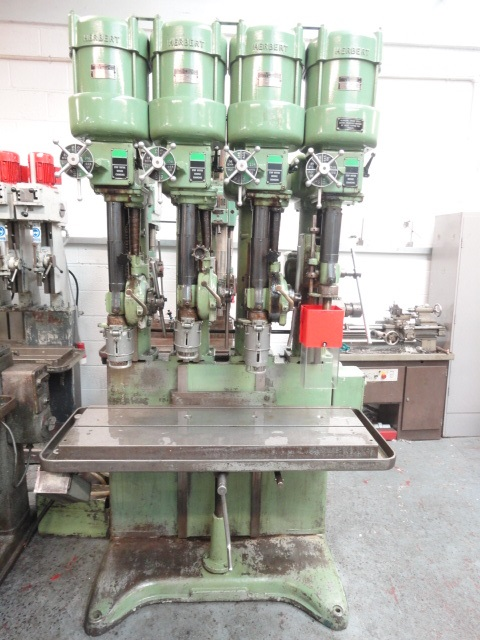 Herbert V-Type 4 Spindle In Line Drilling Machine S/N F38615 Rise & Fall Tee Slotted Table 1165 x