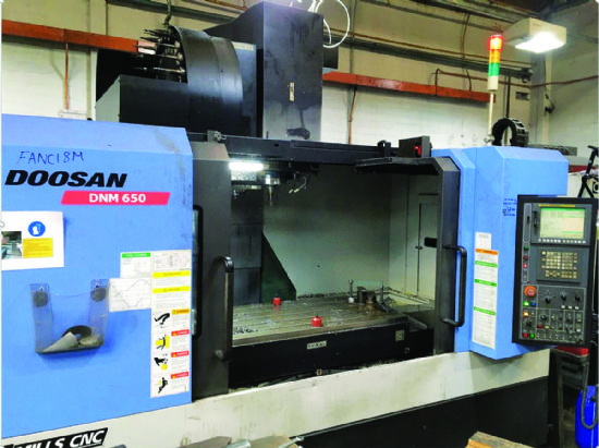 Fanuc OI-MC control,  min/max height under spindle: 150-775mm,  spindle centre to column 747mm,