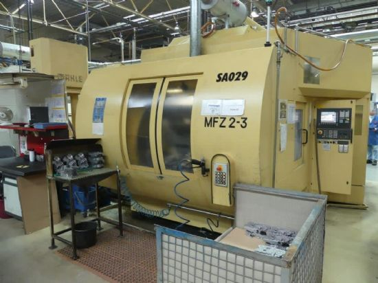 Samag MFZ 2-3 five-axis three-spindle horizontal machining centre with Siemens Siematic CNC (to incl